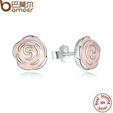 Original 925 Sterling Silver Rose Petal Garden Stud Earrings Pink Enamel Compatible with Jewelry PAS401