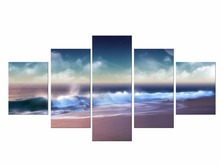5 Pieces Free Shipping canvas art sunset seascape Beach decorative wall painting oil paintings Framed