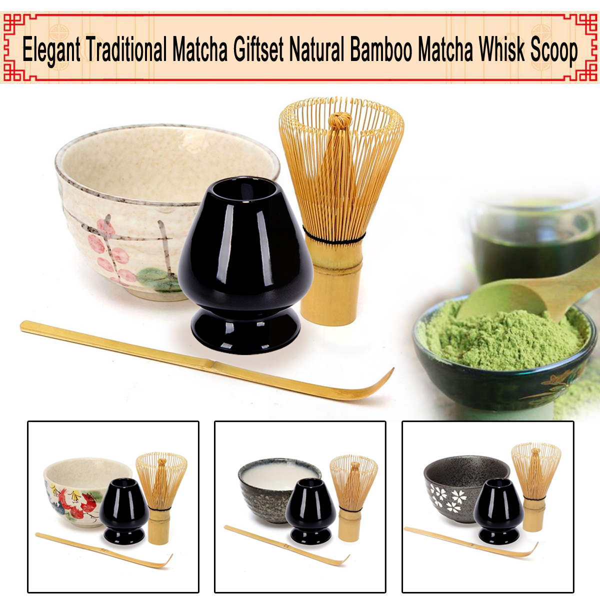 Ev ve Bahçe'ten Çay Takımı Setleri'de Çay Servisi Bambu Doğal toz yeşil çay çay tozu Çırpma Kepçe Seramik kase seti Japon Teaware Töreni title=