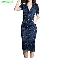 Spring Autumn High waist Denim Dress Women Slim Short sleeve Casual Jeans Dresses Female Holes Denim Blue A word Dresses A724