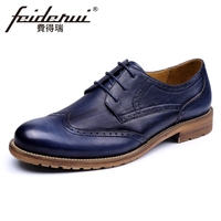 Basic Genuine Leather Men S Handmade Oxfords Round Toe Lace Up Man Party Flats Formal Dress