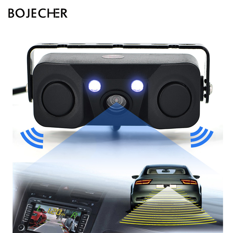 3 IN 1 video Parking Sensor Car Reverse Backup Rear View Camera BiBi Alarm Indicator Anti Car Cam with 2 Radar Detector Sensors