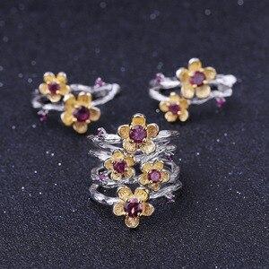 Image 5 - GEMS BALLET 925 Sterling Silver Handmade Ring 0.96Ct Natural Rhodolite Garnet Plum Blossom Flower Rings for Women Fine Jewelry