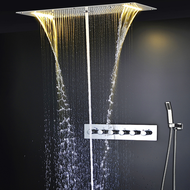 Multifunction Led Shower Kit Recessed Big Rain Column