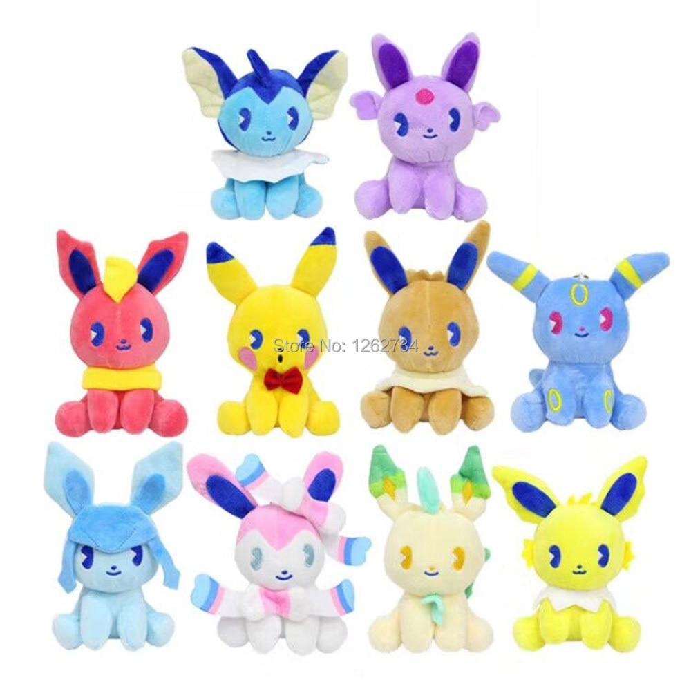10 Styles Saiko Soda Pikachu Sylveon Umbreon Flareon Vaporeon Jolteon Eevee Espeon Leafeon 10CM Plush Keychain Pendant PCXB