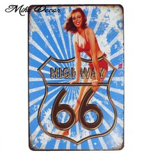 [Mike86] Route 66 Pinup Lady Retro Logam Plak Bar Publik Decor Vintage Dinding Rumah art Craft 20*30 CM Mix item AA-1056(China)