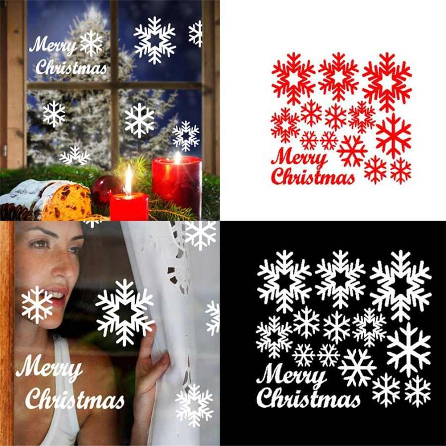 """Hot Sale """"Happy Christmas""""Red letters Christmas Wall Window Stickers Angel Snowflake Christmas Xmas Vinyl Art Decoration Decals"""