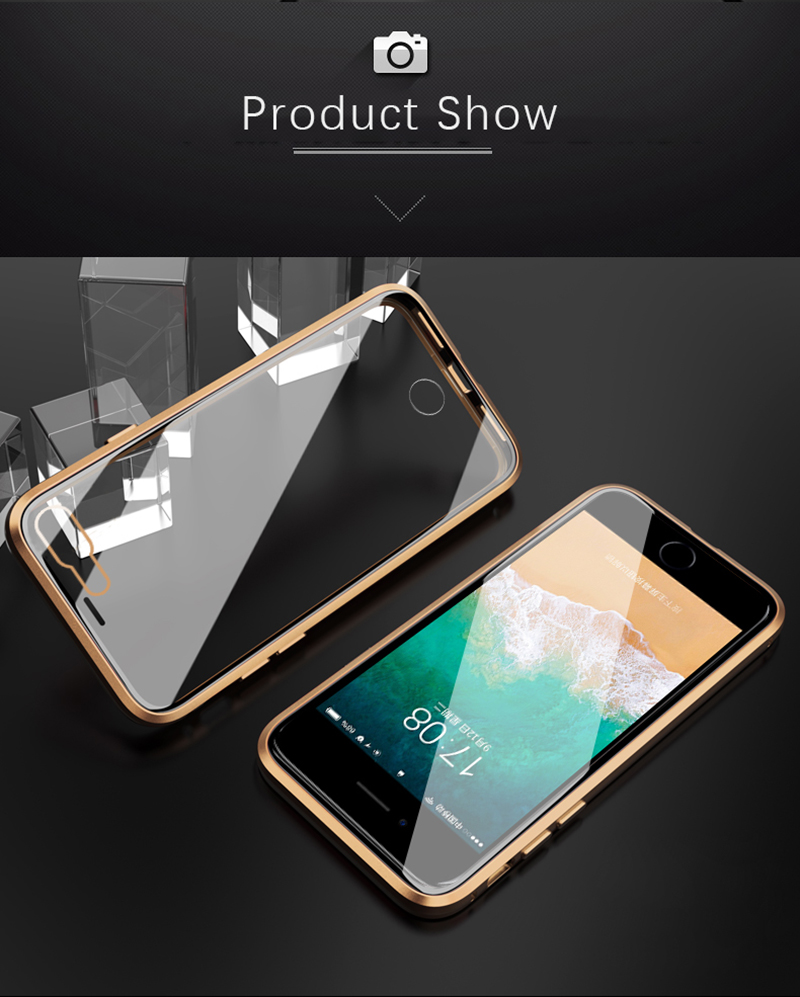 Luxury Double sided front+back clear glass metal Magnetic case for iphone 7 8 plus iphone X XR XS Max phone case 360 cover coque (15)
