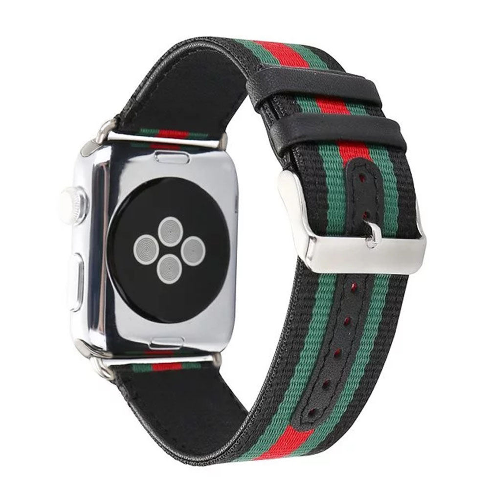 For Apple Watch 38/40mm 42/44mm Striped Nylon+Leather Watch Band Strap Wrist Bracelet for iwatch Series 1 2 3 4 Black White. fashionable water resistant glow in dark wrist watch black white 1 x lr626