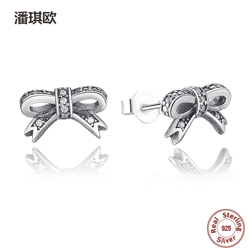 1 pair Fine Earring 925 Sterling Silver Sparkling Bow Stud Earrings With Clear CZ For Women Compatible With pan jewelery