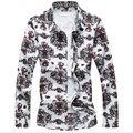 2017 hombres de la primavera más el tamaño de manga larga camisas de impresión de la manera de european brand clothing nueva alta calidad masculina camisa casual mcl070