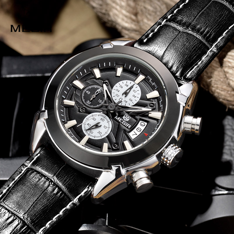 Relogio Masculino MEGIR Watch Men Military Quartz Wrist Watch Chronograph Mens Watches Top Brand Luxury Leather Sport Wristwatch reef tiger brand men s luxury swiss sport watches silicone quartz super grand chronograph super bright watch relogio masculino
