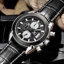 Relogio masculino MEGIR Relógio Men Quartz Militar Relógio de Pulso Chronograph Mens Relógios Top Marca de Luxo de Couro Relógio de Pulso do Esporte