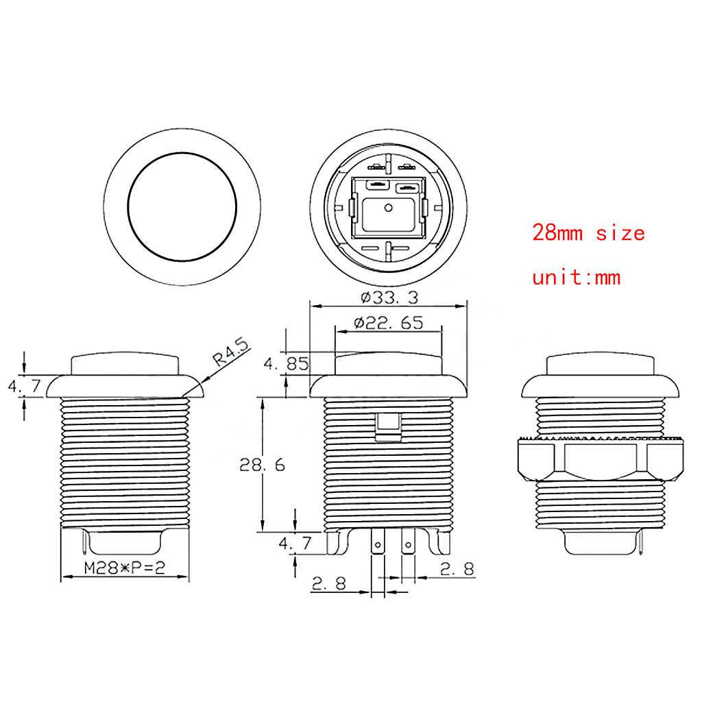 1 قطعة 28 مللي متر/24 مللي متر LED زر الضغط للقنطرة ممر بدء زر التبديل 5 فولت مضيئة زر ممر ملحقات المقصورة