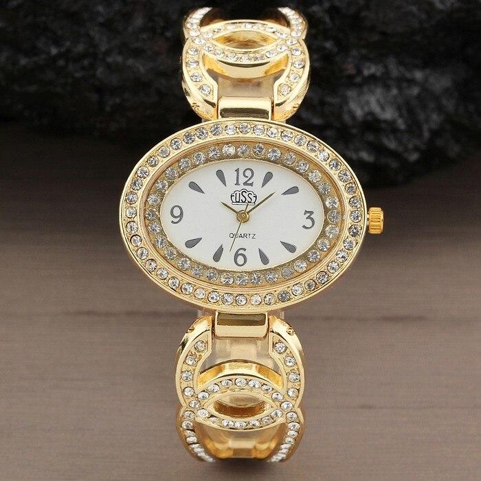 New Women Watch Fashion Wrist Watch Analog Quartz Watches Stainless Steel Luxury Rhinestone Bracelet  Dress Oval Gifts Gold цена 2016