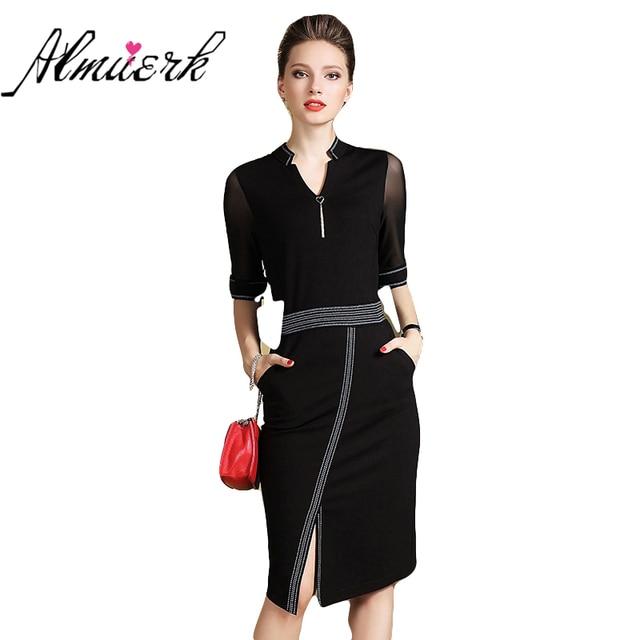 1f002f161 Europa Estados unidos moda Outono vestido de gola V feminino Meia manga  escritório de Negócios high