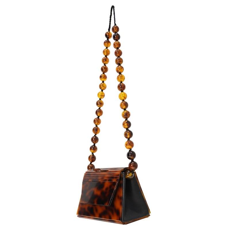 Léopard ambre acrylique résine sacs perles femmes Messenger sacs trapèze boîte femme bandoulière sacs à bandoulière de luxe marque sac à main