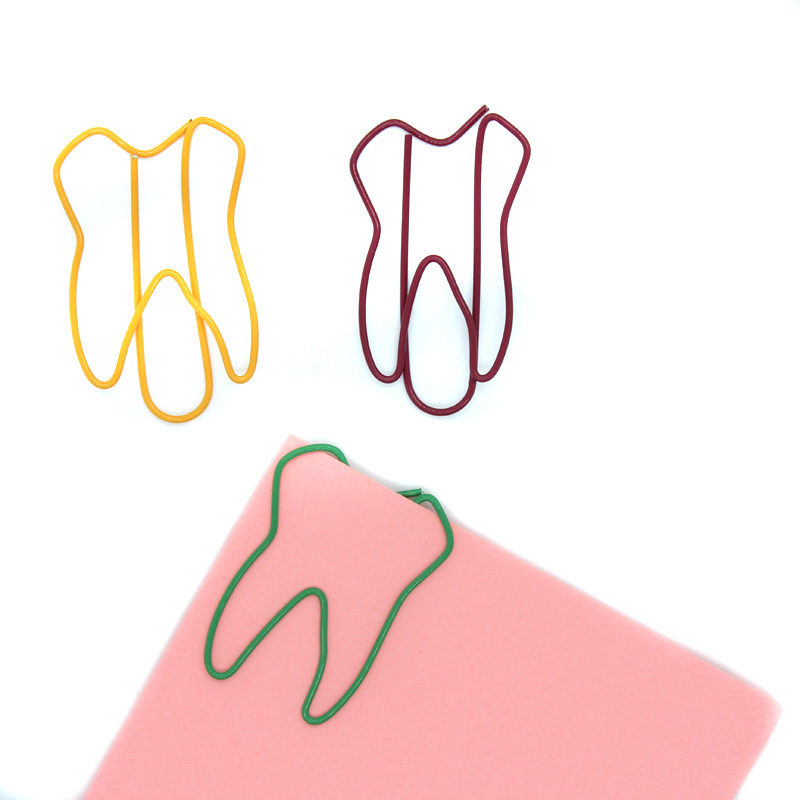 Tooth Shape Bookmarks Cute Paper Clip Metal Clips Notes Folder For Office & School Stationery 50Pcs / Lot Free Shipping