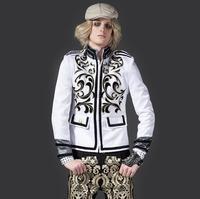 Sonbahar yeni varış genç cep blazer erkekler son kat tasarımları suit erkek kostüm homme şarkıcı dans erkek siyah için takımları beyaz