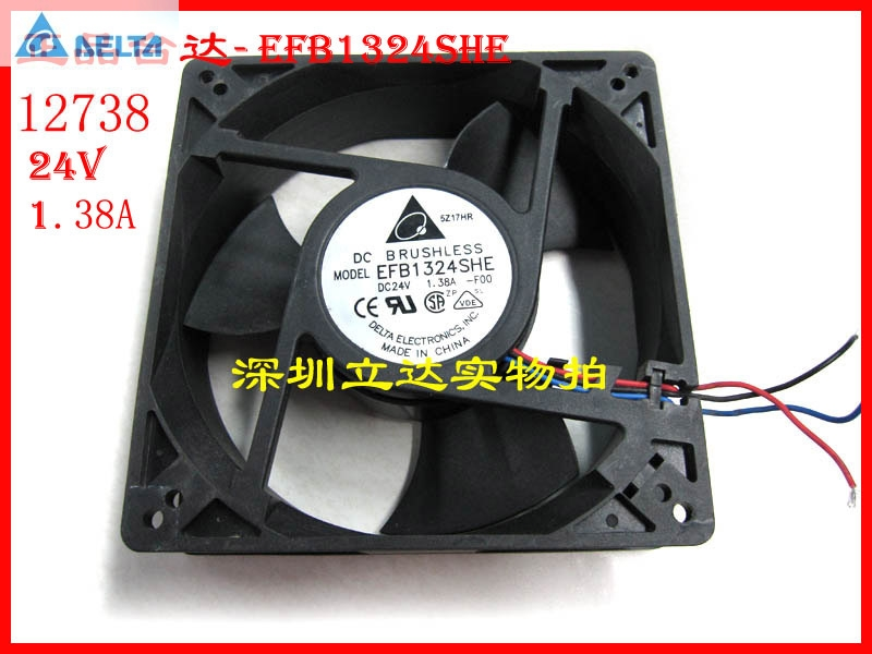 Original Delta EFB1324SHE  127MM 12738 127*127*38MM 24V 1.38A cpu cooler heatsink axial Cooling Fan ffb1324vhe b inverter double ball bearing cooling fan ffb1324vhe dc 24v 14 4w 0 9a 3050rpm 12738 127 127 38mm 12cm