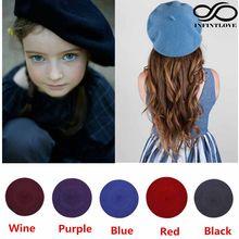 LUCKYLIANJI çocuk çocuk kız Retro katı fransız sanat tarzı bere şapka yün kap Tam bere (elastik boyutu: 52-55cm)