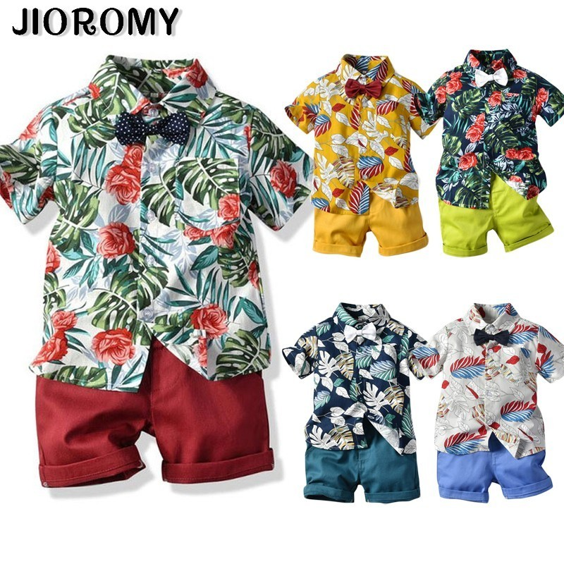 Hot Sale 2019 Summer Style Children Clothing Sets Tops Shorts Belt 3 Pcs Set Boys Girls T Pants Sports Suit Kids Clothes(China)