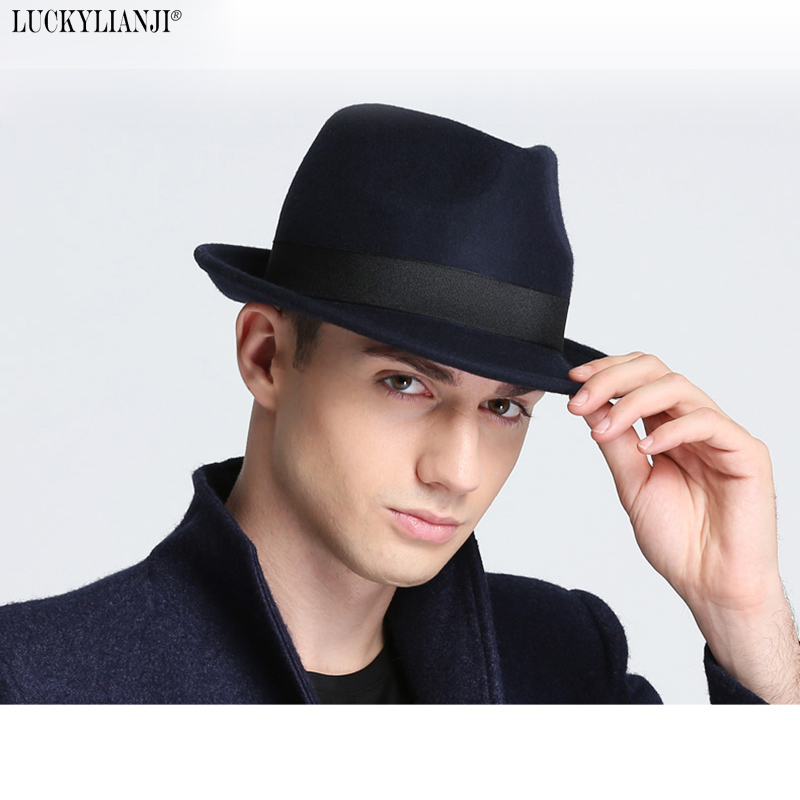 LUCKYLIANJI Retro Hard Felt Women Men Fold Wide Brim Billycock Sag Top Bowler Derby Jazz Fedora Panama Casual Hats (Size:57cm)(China)