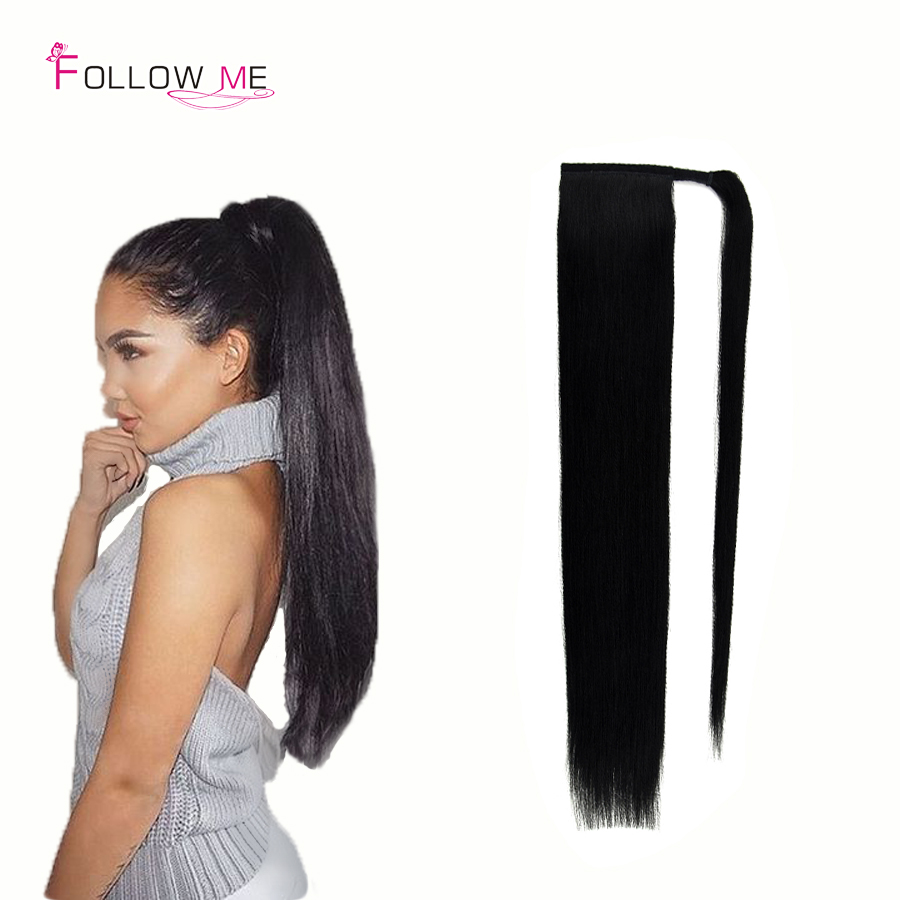 Indian Real Human Hair Ponytail Wrap Around Ponytail Human Hair