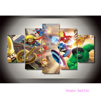 Lego Marvel Super Heroes 5 Pieces Canvas Painting Print Living Room Home Decor Modern Wall Art Oil Painting