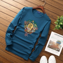 Brand cotton clothes t-shirt Animal 2017 New fashion casual Boy t shirt Funny long sleeved O-neck Spring and Mens Tops M-5XL