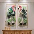 Europäischen Schmiedeeisen Flamingo Wand Hängen Vögel Dekoration Handwerk Hotel Home Korridor Wand Aufkleber Metall Anlage Wandbild Ornamente