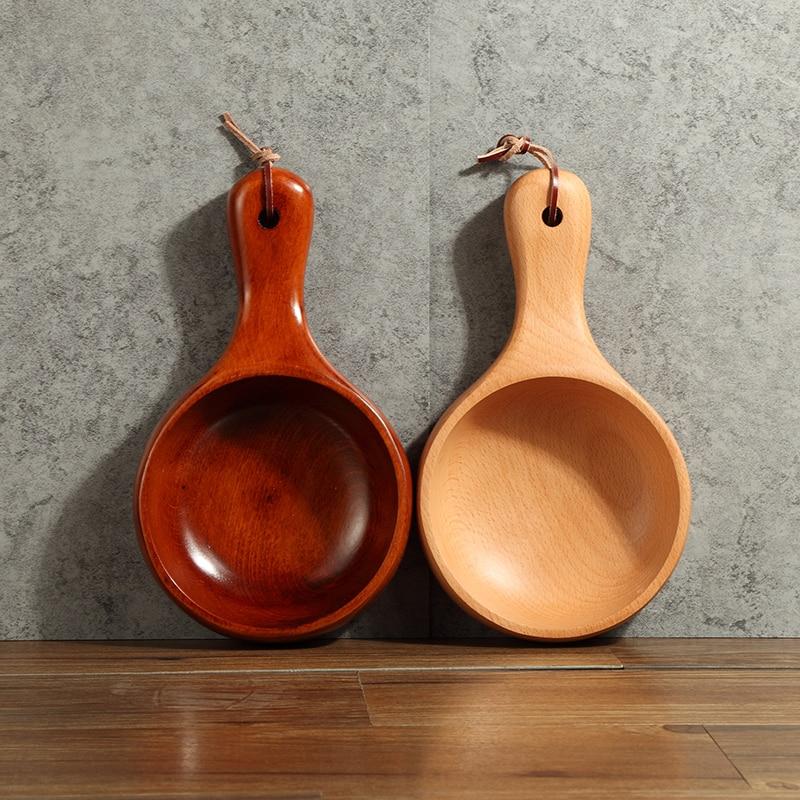 5 Solid Wooden Fruit Salad Bowl Long Handle Kitchen Tools Sushi Noodle Bowl Wood Dish Soup Containe