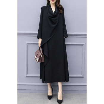 2019 spring new women's classic temperament loose large size long dress female black thin section long-sleeved dress personality