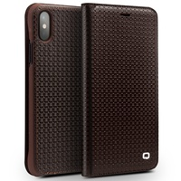 QIALINO Case for iPhone X Capa Grid Texture Auto absorbed Cowhide Leather Card Holder Luxury Cover Case for Apple iPhone X Coque
