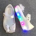 2017 el más nuevo mini melissa jalea sandalias led luces intermitentes zapatos de niña muchacha de la mariposa zapatos de la princesa zapatos de la jalea de melissa zapatos