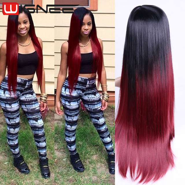 Ombre Black Burgundy Grey Wig Heat Resistance Synthetic Hair Wigs ...