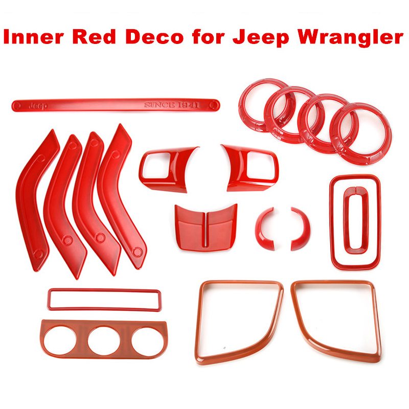 Red ABS Decoration Covers for Jeep Wrangler JK 2/4 Doors Handle Steering Wheel Gear Shift Speaker Light Aircon Plastic Cover Kit runba ice silk steering wheel cover sets with red thread