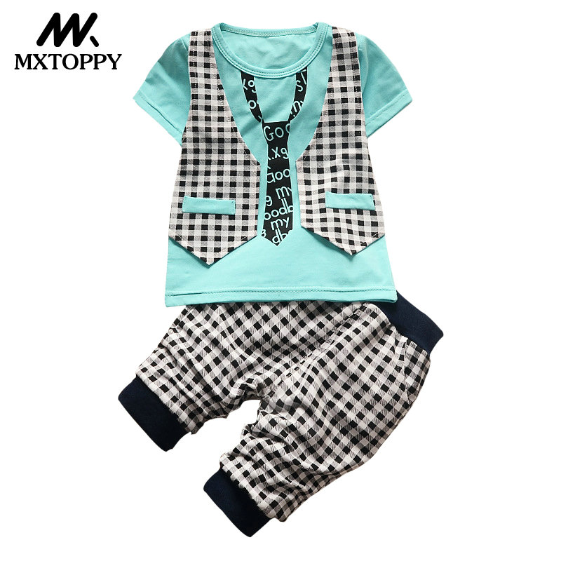 2018 Summer Children Clothing Boys Clothes Set Kids Short T-shirt Pants Cotton Comfortable Cartoon Boys Clothing Gentlemen Suit summer baby boys clothing set cotton animal print t shirt striped shorts sports suit children girls cartoon clothes kids outfit
