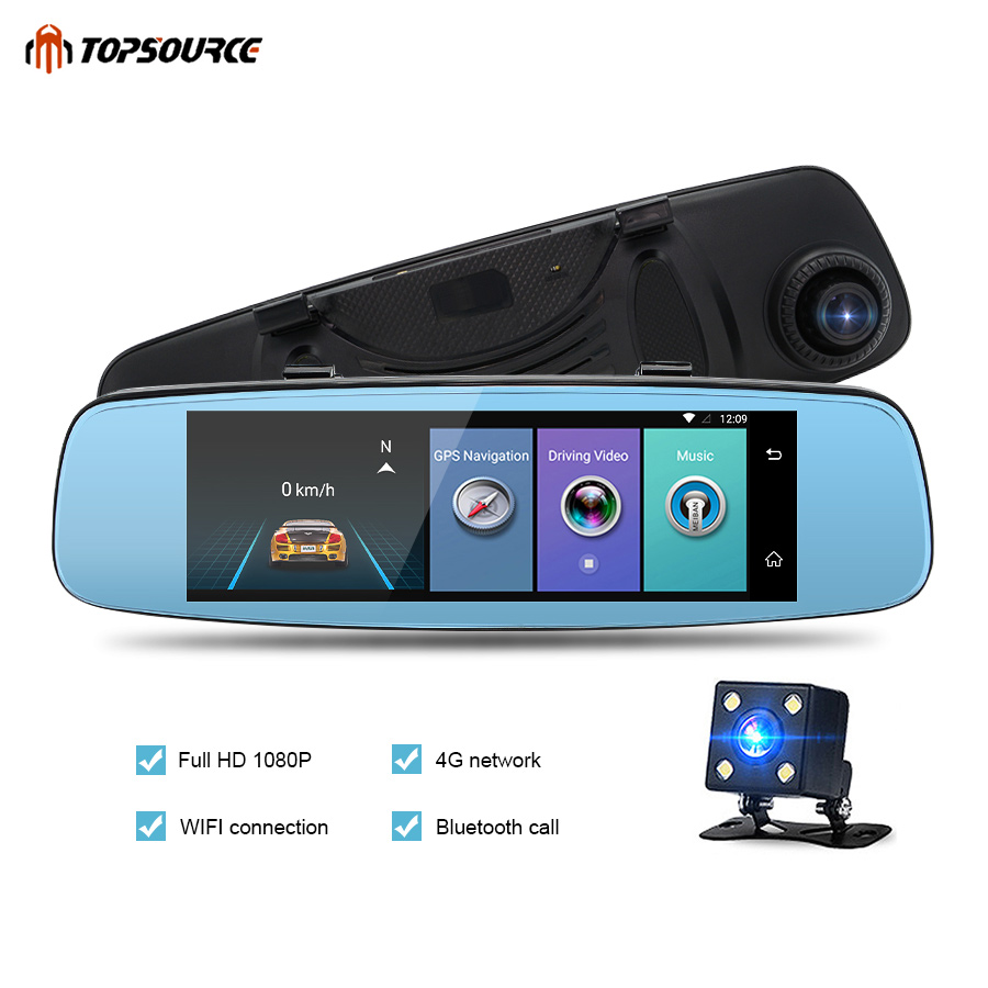 TOPSOURCE Car Dvr E06 4G ADAS Car DVR Camera Video Recorder BT WIFI 7.86 IPS Screen Android With Two Cameras Dash Cam Registrar