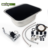 BIKINGBOY RV Caravan Camper Stainless Steel Hand Wash Basin Kitchen Sink Tab + Tempered Glass Lid Motorhome Sink Boat Horsebox