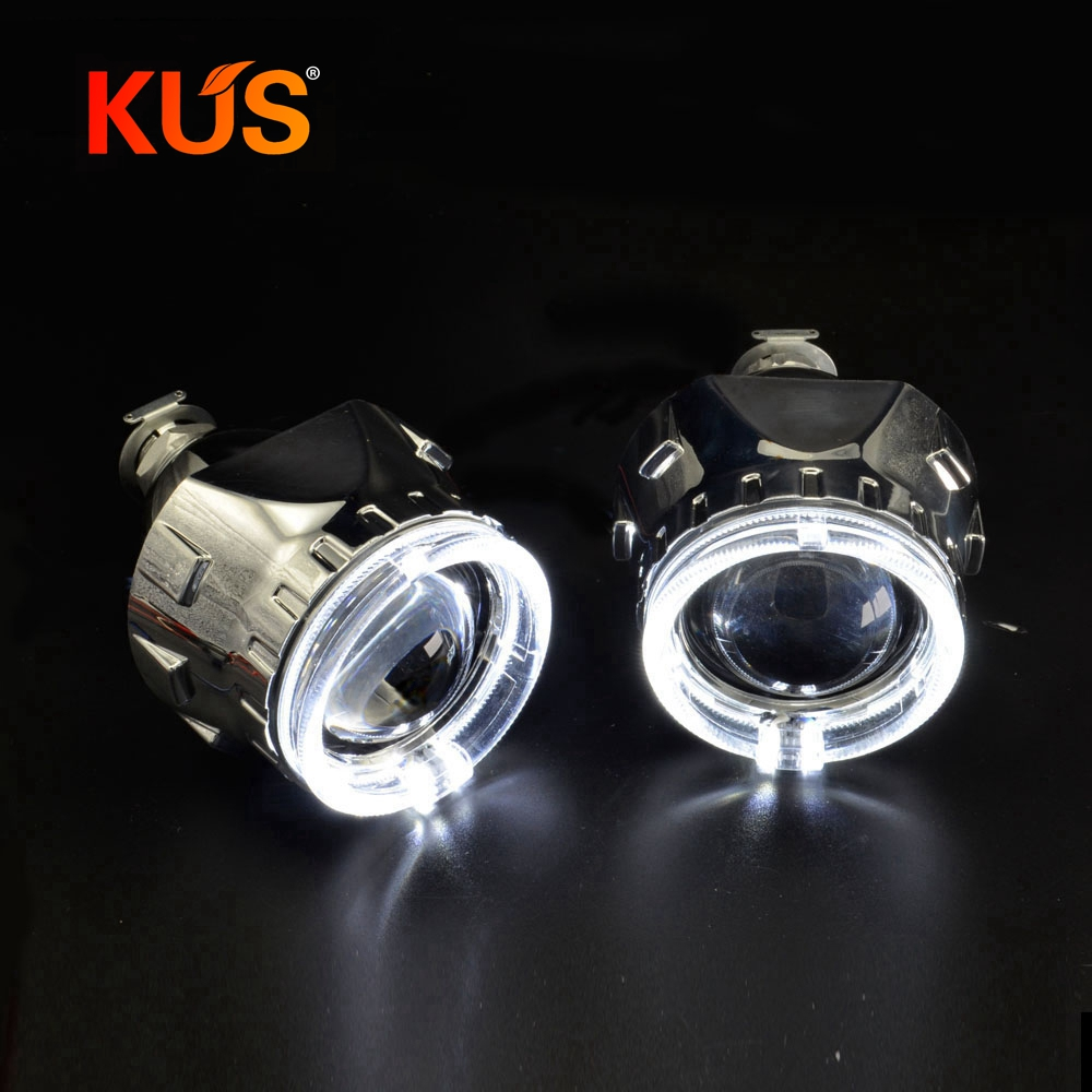2pcs h1 bixenon hid Projector lens white DRL with yellow turning signal function led day running
