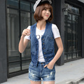 2016 Spring Autumn Woman Fashion Single Breasted Pockets Denim Vest Female Slim Body All Match OL Denim Waistcoat Plus Size 4XL