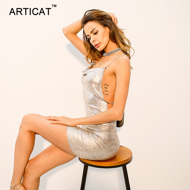 Articat Sexy Backless Party Dresses Women Spaghetti Strap Chains Cross Bandage Dress Women Vestidos Summer Short Bodycon Dress 2
