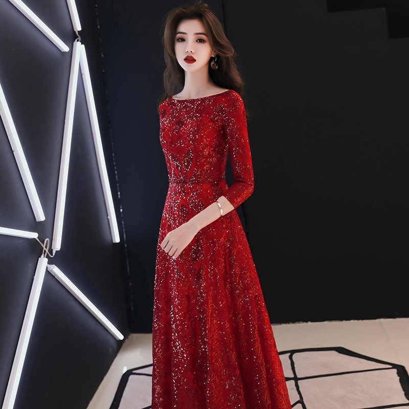 É yiiya vestido de noite cheio lantejoulas brilhando o-pescoço meia manga vestidos formais feminino vintage vinho vermelho longo vestido de festa e091