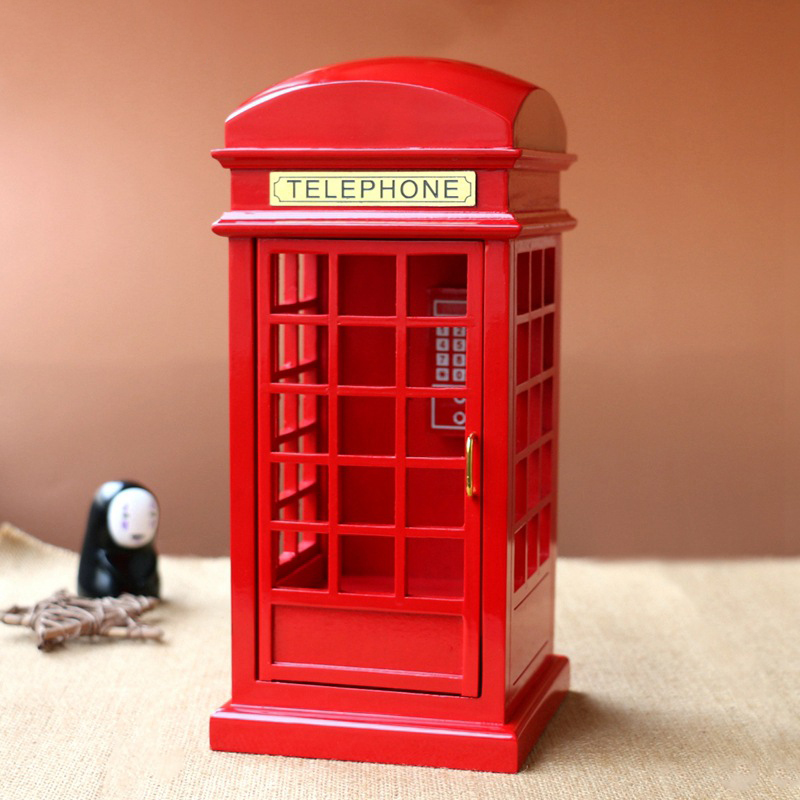 London Street Simulation Phone Booth Boxes Wooden Music Box Wood Crafts Retro Birthday Gift Vintage Home Decoration Accessories