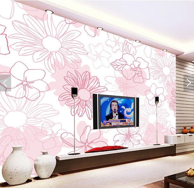 kundenspezifische retro tapete, handgemalte rosa blumen graffiti ... - Retro Tapete Wohnzimmer