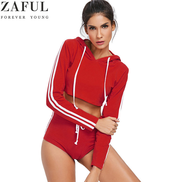 104910cbab ZAFUL Long Sleeve Crop Top And Shorts Sweat Suit Women Tracksuit Fitness  Yoga Sport Set Gym