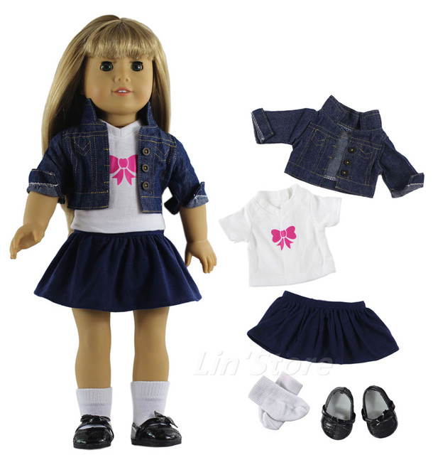 """Hot 9 PCS Denim Outfit Fashion Doll Clothes Coat+T-shirt+skirt+glasses+bag+socks+one pairs shoes for 18""""American Girl"""