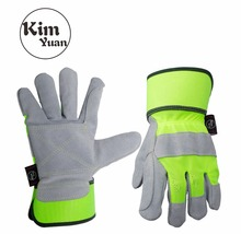 KIM YUAN 004 Leather Green Security Work Gloves, Anti-slippery & Dirt-resistant, for Gardening/Construction/Outdoor, Men&Women цена и фото