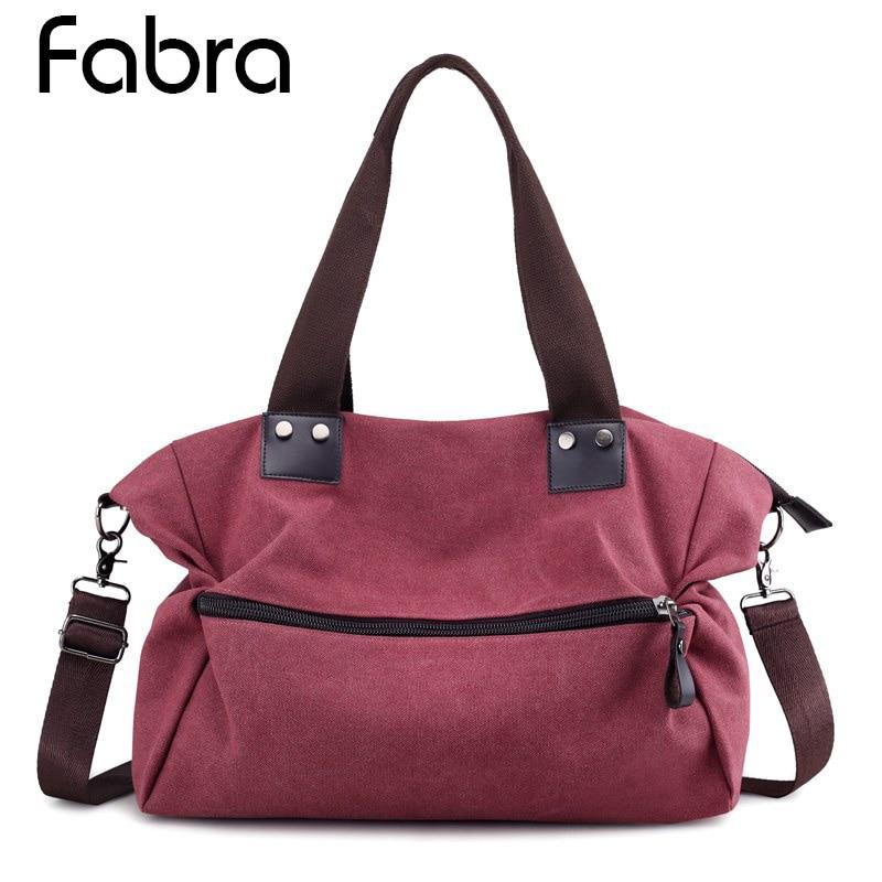Fabra Canvas Women Bag Casual Handbag Hobo Shoulder Crossbody Bags Large Big Trapeze Zipper Casual Totes Female Messenger Bags